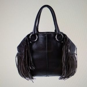 Tods grained leather fringe tote